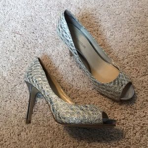 Enzo Angiolini silver and gold high heel shoes